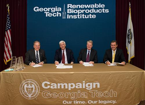 Steve Cross, Jim Ferris, George Lanier and Al Trujillo at the signing