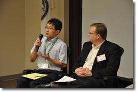 IPC Foundation Innovation prize-winner Jie Wu responds to a member's question as Professor Carson Meredith looks on.
