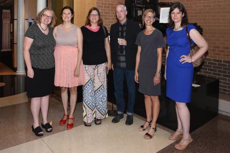 Suzanne Sawyer, guest curator of the exhibit, shown far left, with featured artists Denise Bookwalter, Kerri Cushman, Doug Baulos, Lee Running, and Lauren Faulkenberry.