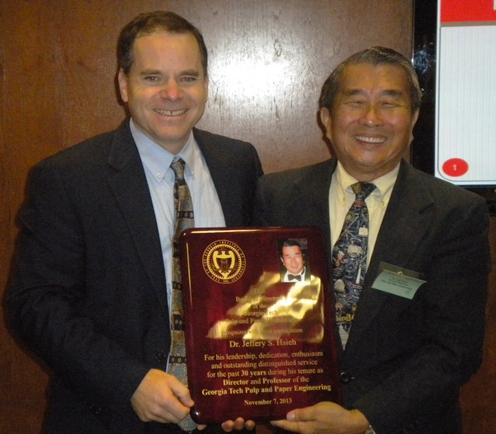 David Sholl (left) presenting plaque to Jeff Hsieh