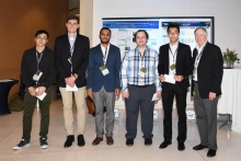 RBI 2018 poster session winners Jeffrey Luo, MSE; Nicholas Kruyer, ChBE; Chinmay Satam, ChBE; Bedi Baykal, MSE; Songcheng Wang, ChBE