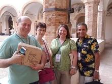 Museo della Carta e Filligrana director Giorgio Pellegrini and his wife with Juan Chevere and Virginia Howell