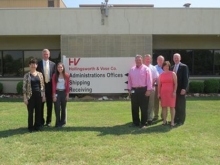 President Peterson visiting Holingsworth & Vose Company